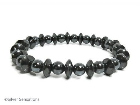 Hematite Discs & Round Beads Stretch Fashion Bracelet
